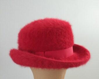 Red Mohair Kangol Bowler Hat