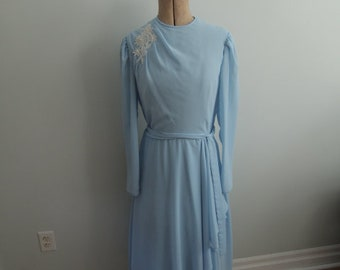 1960's Blue Going Away Dress with Beaded Details
