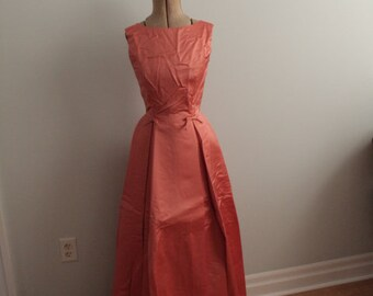 1950's Coral Satin Prom Dress