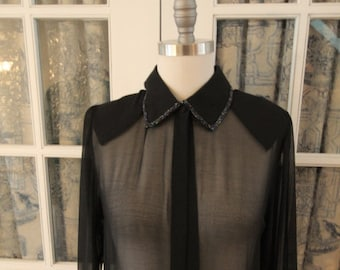 Sheer Black Beaded Blouse