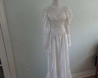 1980's Wedding Dress with Train