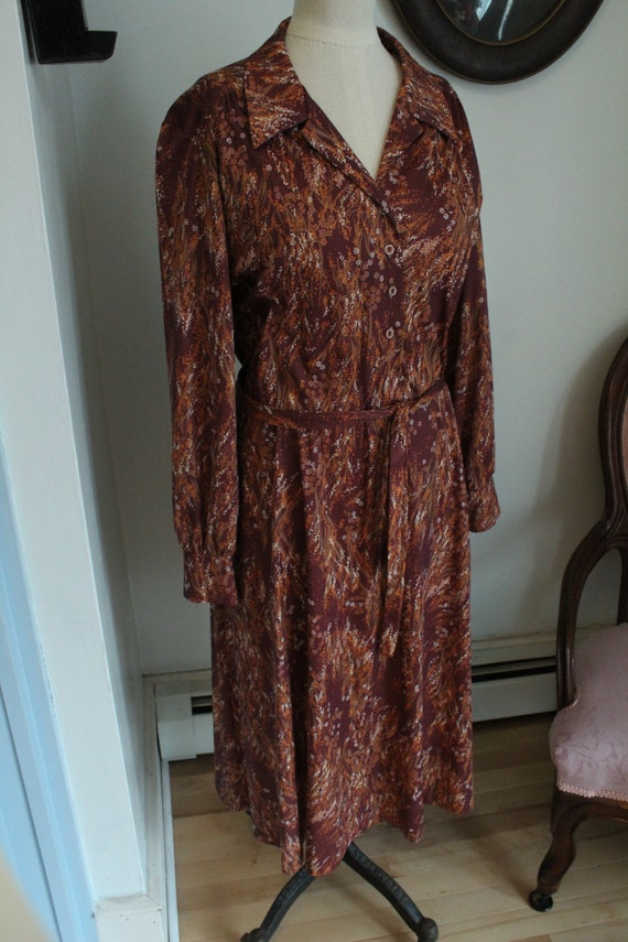 1970's Brown Floral Wrap Style Dress