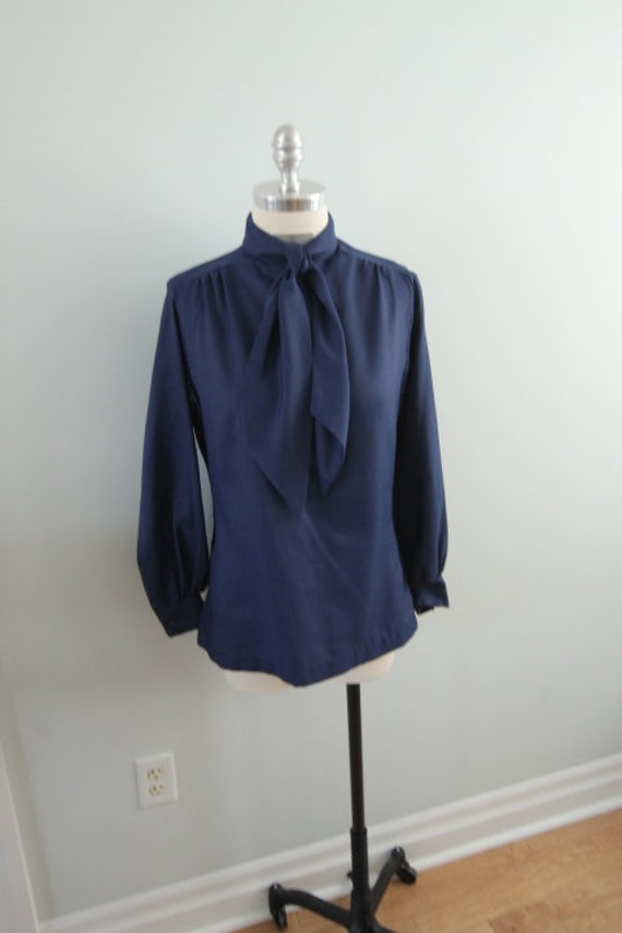1970's Blue Polyester Pussy Bow Blouse
