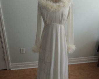 White 1950's Peignoir with Hood and Feather Trim