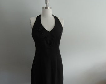 1990's Little Black Dress with 3D Floral Details