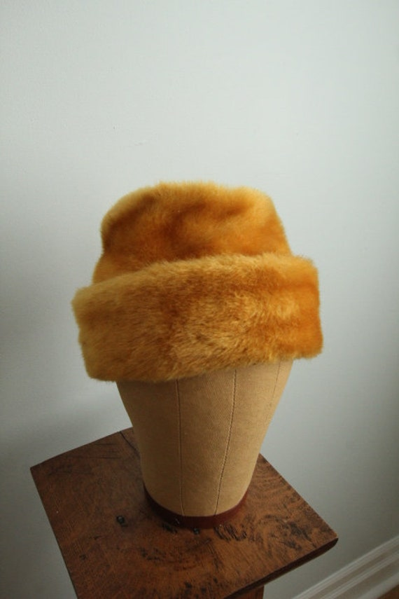 Vintage 1960's Gold Faux Fur Bucket Hat