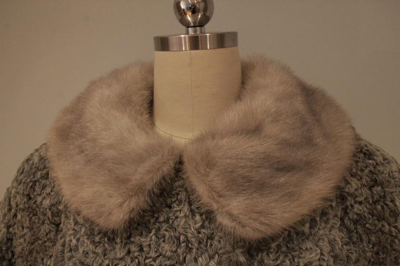 1960\u2019s Grey Mutton Coat with Fox Fur Collar