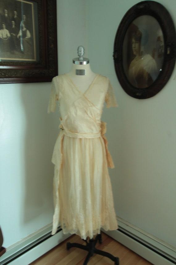 1920's Ivory Silk Wedding Dress Dress