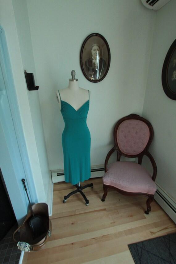 1990's Teal Stretch DVF Slip Dress