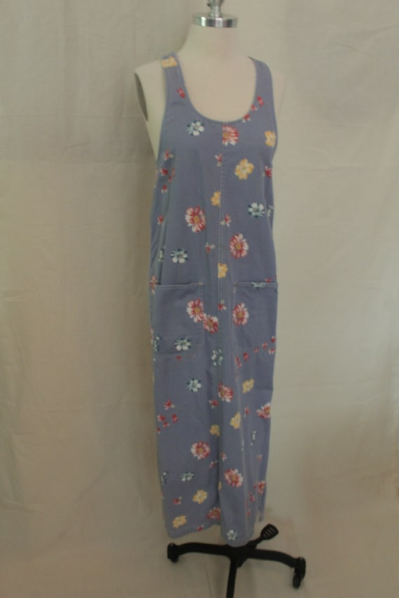1990's Periwinkle Floral Twill Jumper Dress