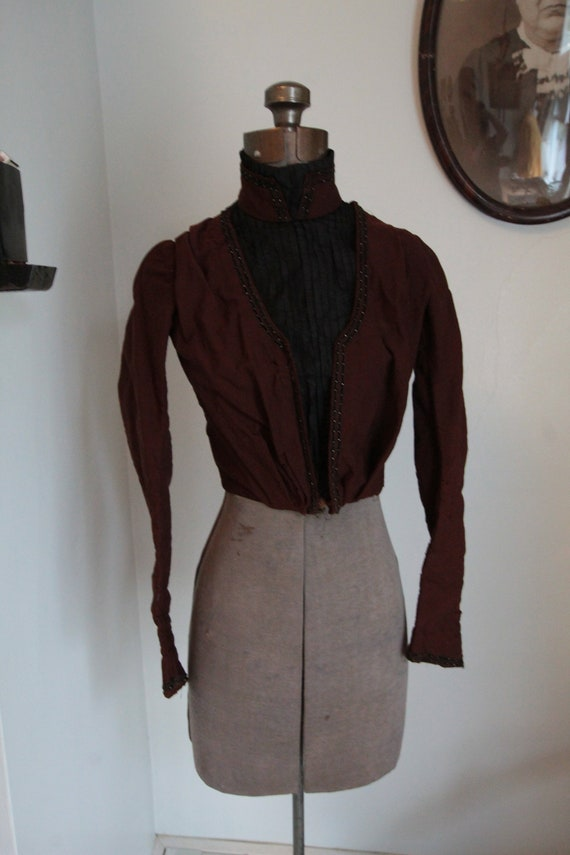 1890's Burgundy and Black Bodice