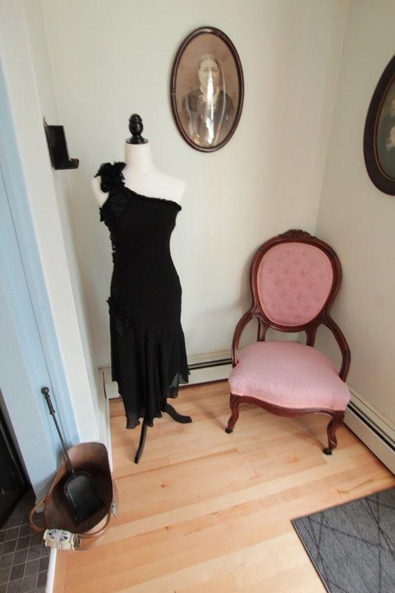1990's Sue Wong Black Applique Slip Dress