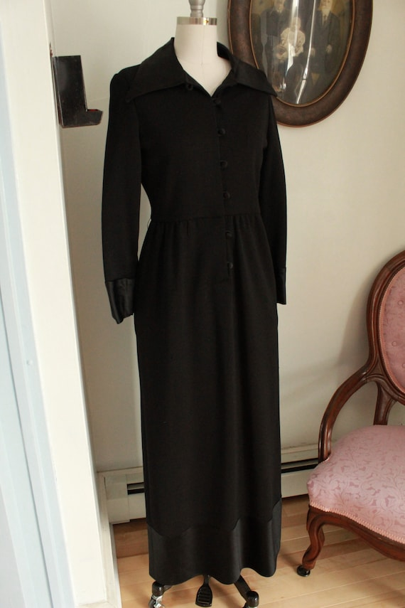 1970's Black Wool Goldworm Brand Dress with Satin