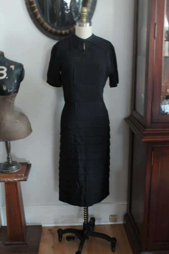 Vintage 1940s late 1930s black crepe dress with beaded shoulder decoration fan pleats and bloused bodice
