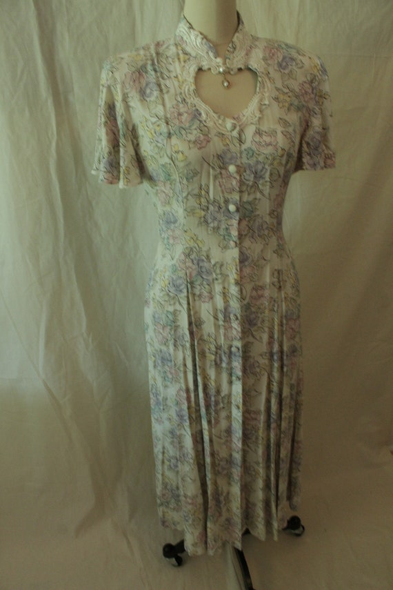 1980's Pastel Floral Frederick's Of Hollywood Dres
