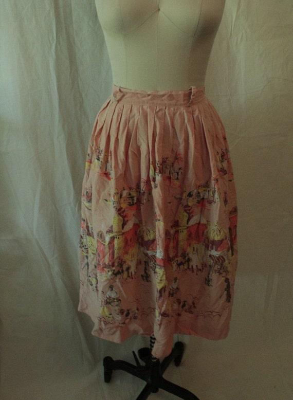 1950's Arabian Nights Print Novelty Skirt - image 1