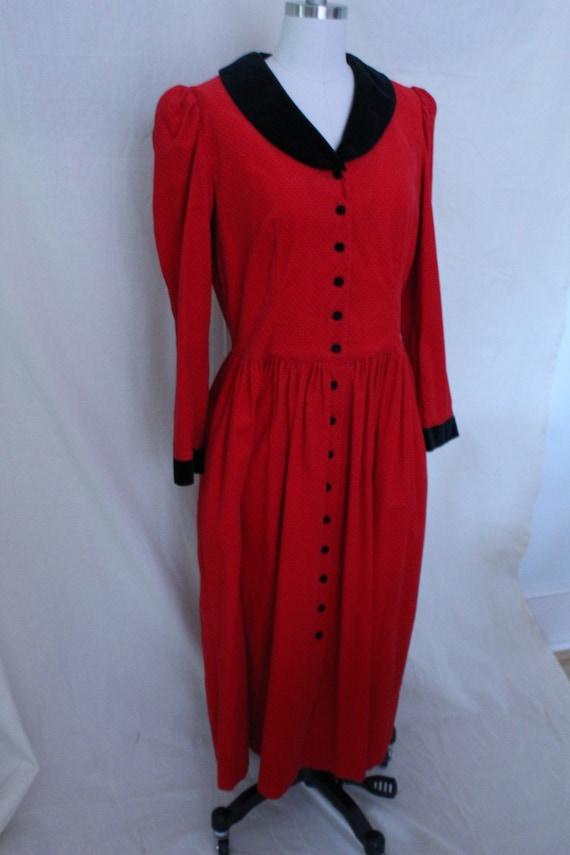 Red Corduroy Lanz Dress