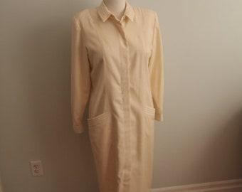 1980's Cream Wool Rouie Dress