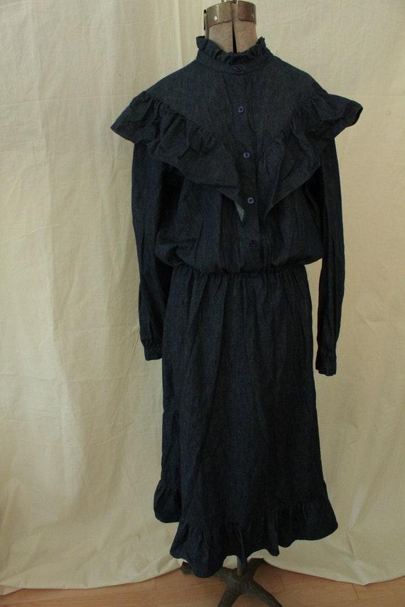 1970s Sylvan Denim Dress with Shoulder Ruffle