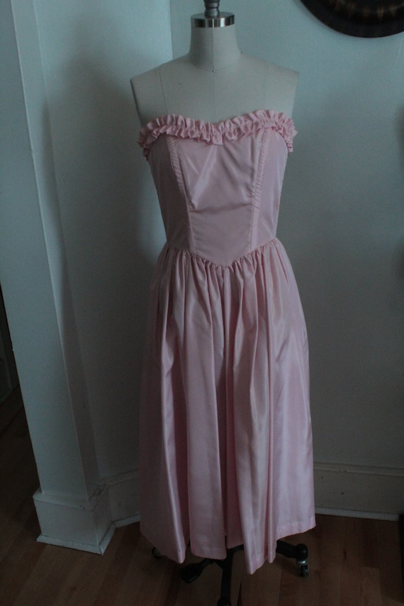 1980's does 1950's Pale Pink Evening Dress