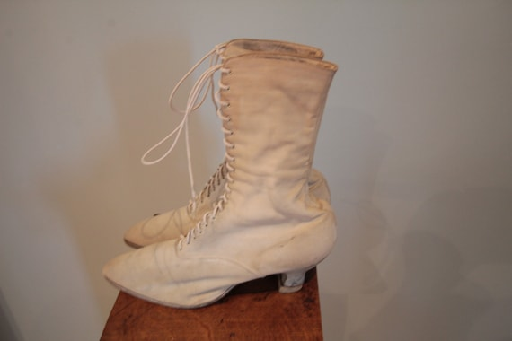 1900's White Canvas Wedding Shoes