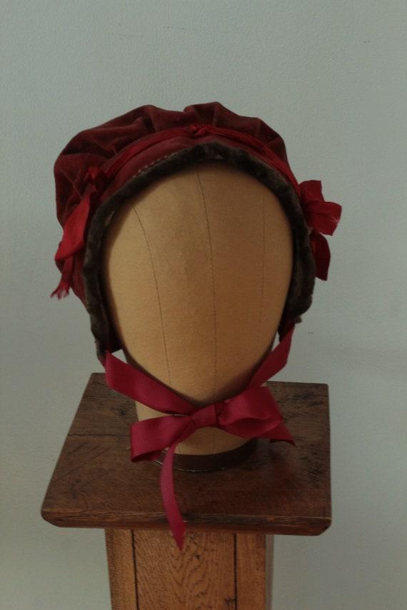 Victorian Child's Velvet Bonnet
