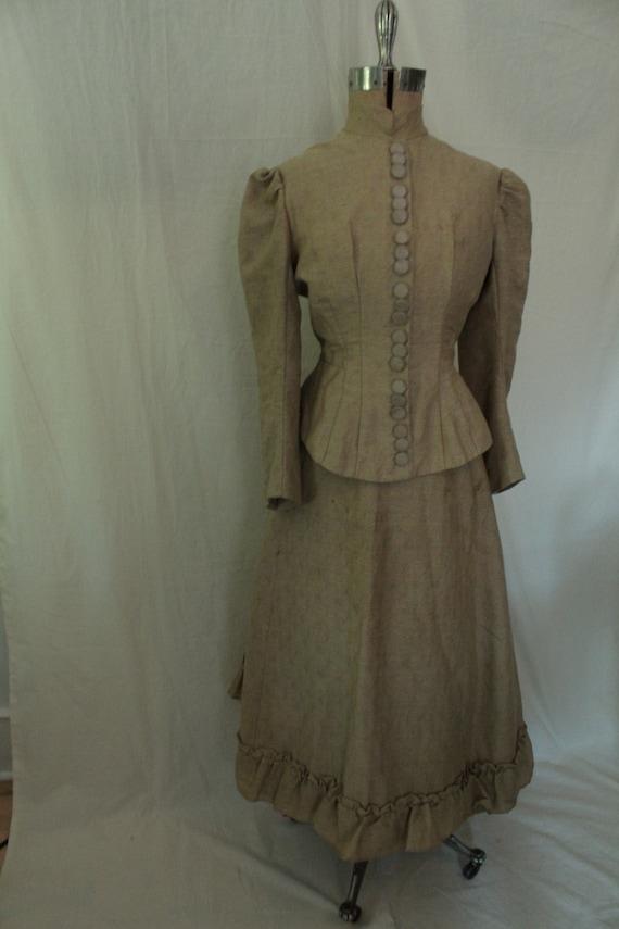 1890's Beige Brocade Day Dress