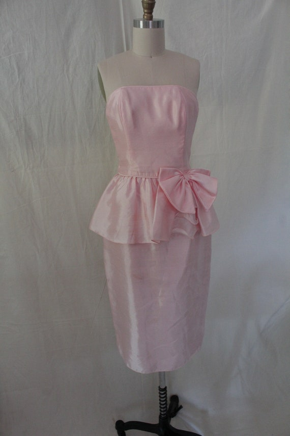 1980's Pink Dupioni Party Dress with Peplum