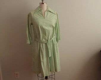 1970's Green and White Striped Cotton Dress With Belt
