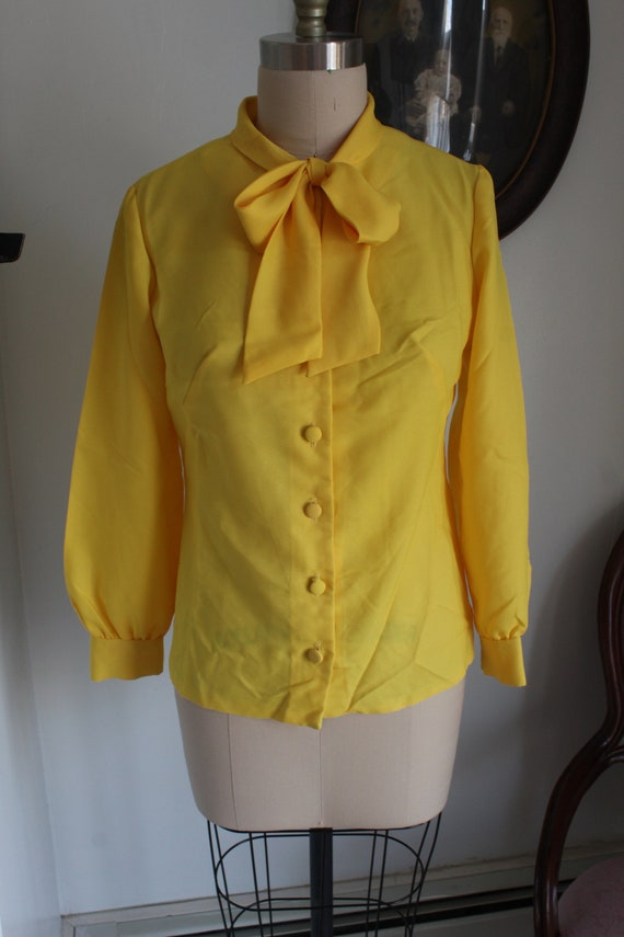 1970's Yellow Pussy Bow Blouse