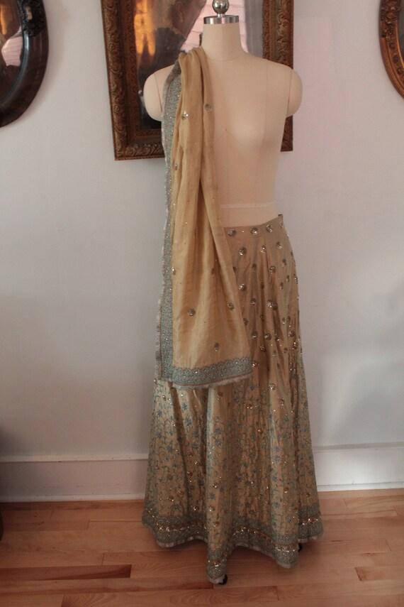 Vintage Ruchira Asnani Beaded Silk Lehenga Skirt a