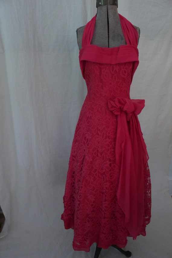 1950's Red Lace Halter Neck Party Dress