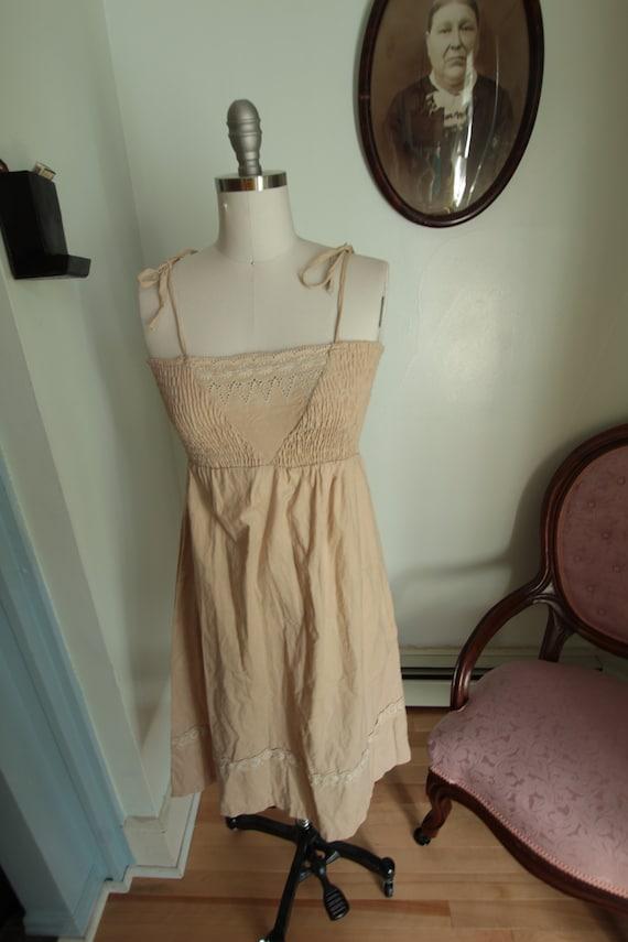 1970's Beige Smocked Sun Dress
