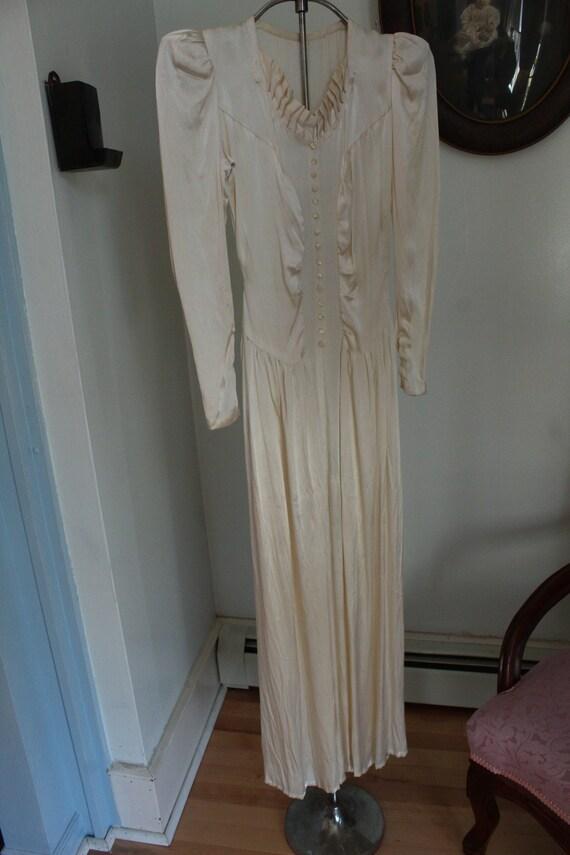 1940's Ivory Satin Wedding Dress