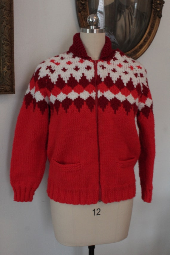 1980's Vintage Red and White Nordic Fairisle Cardi