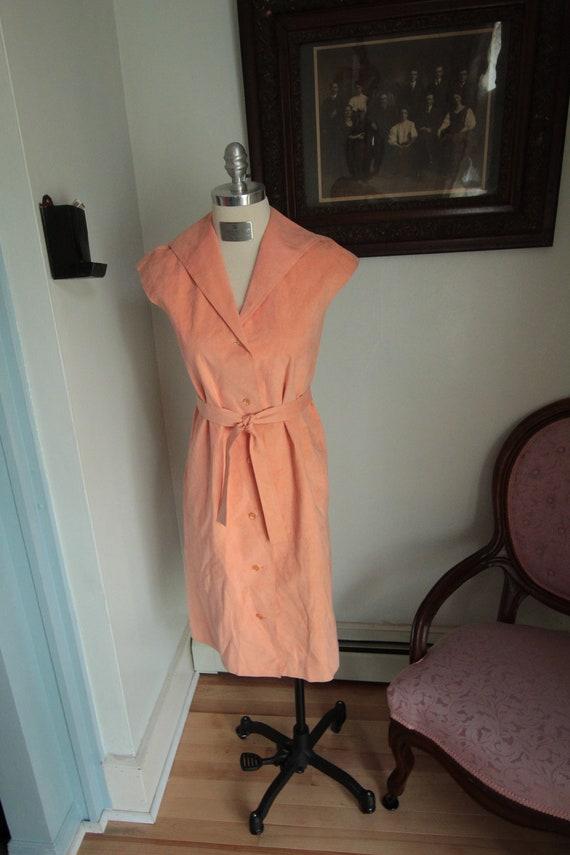 1970s Peach Microsuede Halston Dress