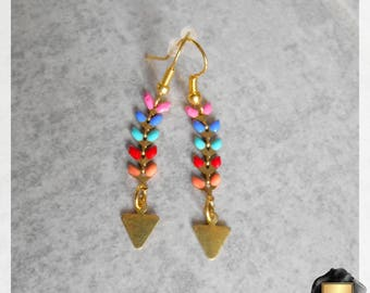Earrings chain mesh multicolor Spike and gold triangle