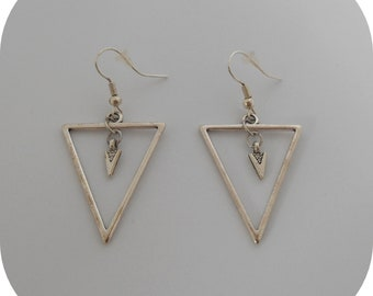 Earrings silver geometric triangle