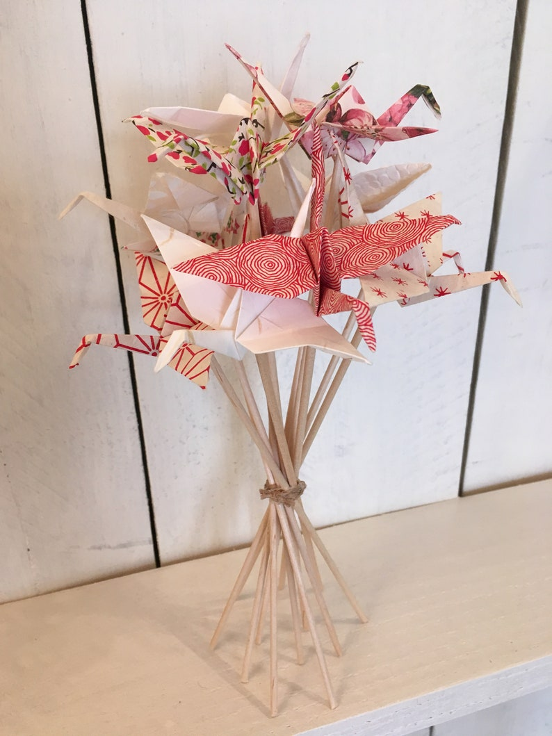 Bouquet of 12 origami cranes image 0