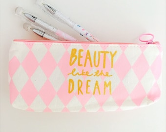 Molt Pink/White zipper pouch for pens cosmetic bag