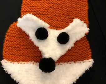 Hand Knit Fox Keyhole Scarf (Child Size)