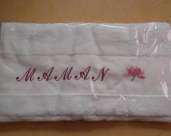 "Handmade ""MOM embroidered towel"