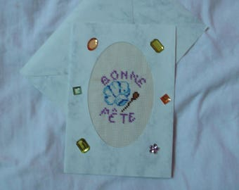 embroidered card party