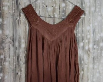 D_016 Vintage rust Brown Summer Dress