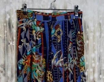 P_005) Vintage Multi-print high waist safari pants