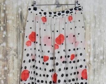S_017) Vintage long summer polkadot/polka dots skirt