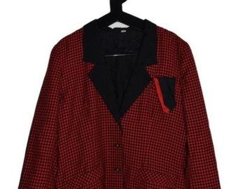 BL_001) Vintage 80 's red checkered blazer
