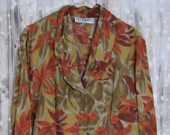 B_021) Vintage orange/olive spring blouse