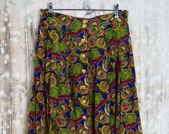 S_014) Vintage Polo Club Print Skirt