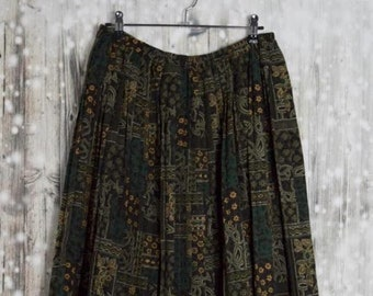S_016) Vintage Green print pleated skirt
